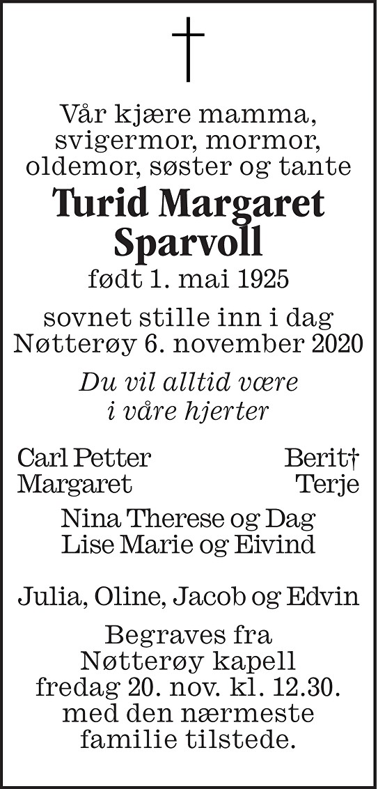 Turid Margaret Sparvoll Dødsannonse
