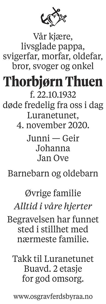 Thorbjørn Thuen Dødsannonse