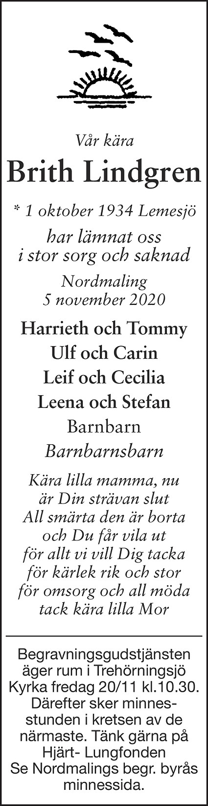 Brith Lindgren Death notice