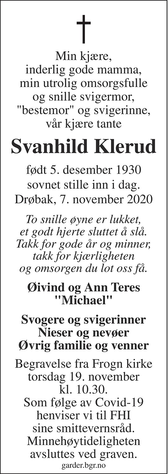 Svanhild Klerud Dødsannonse