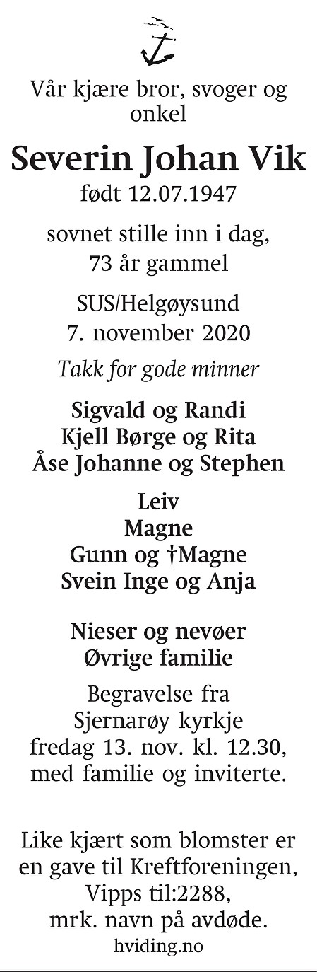 Severin Johan Vik Dødsannonse