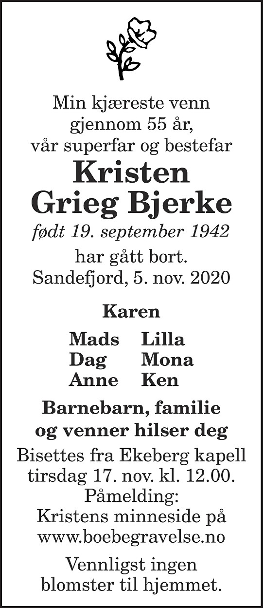Kristen Grieg Bjerke Dødsannonse