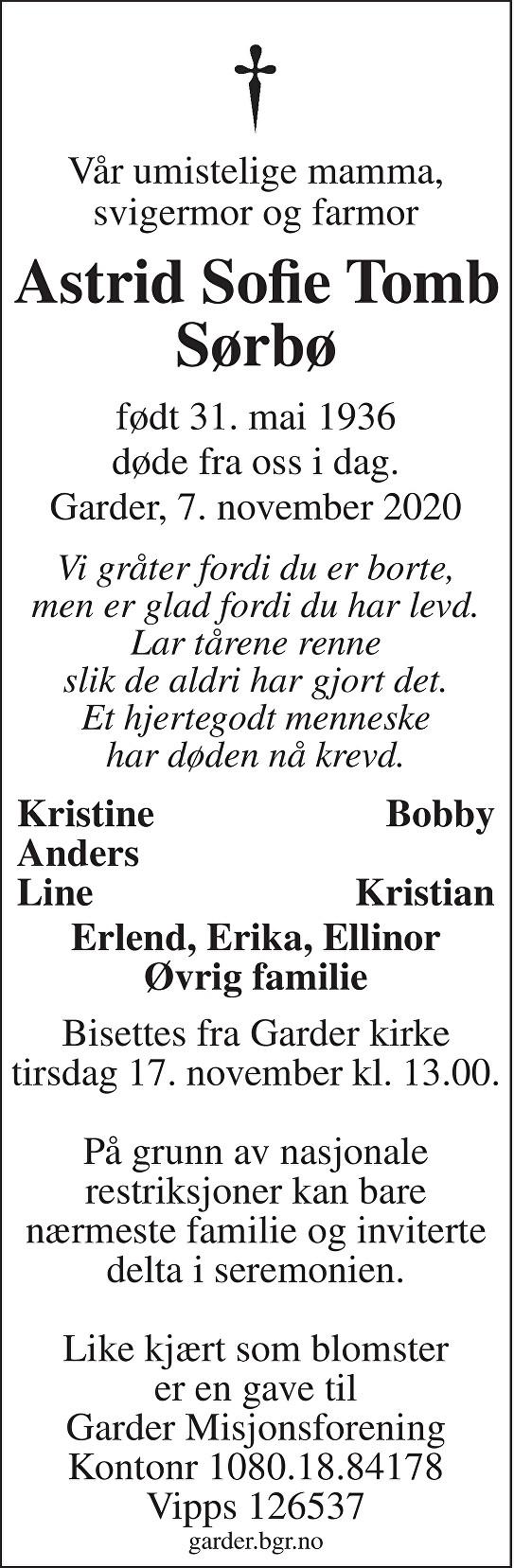 Astrid Sofie Tomb Sørbø Dødsannonse
