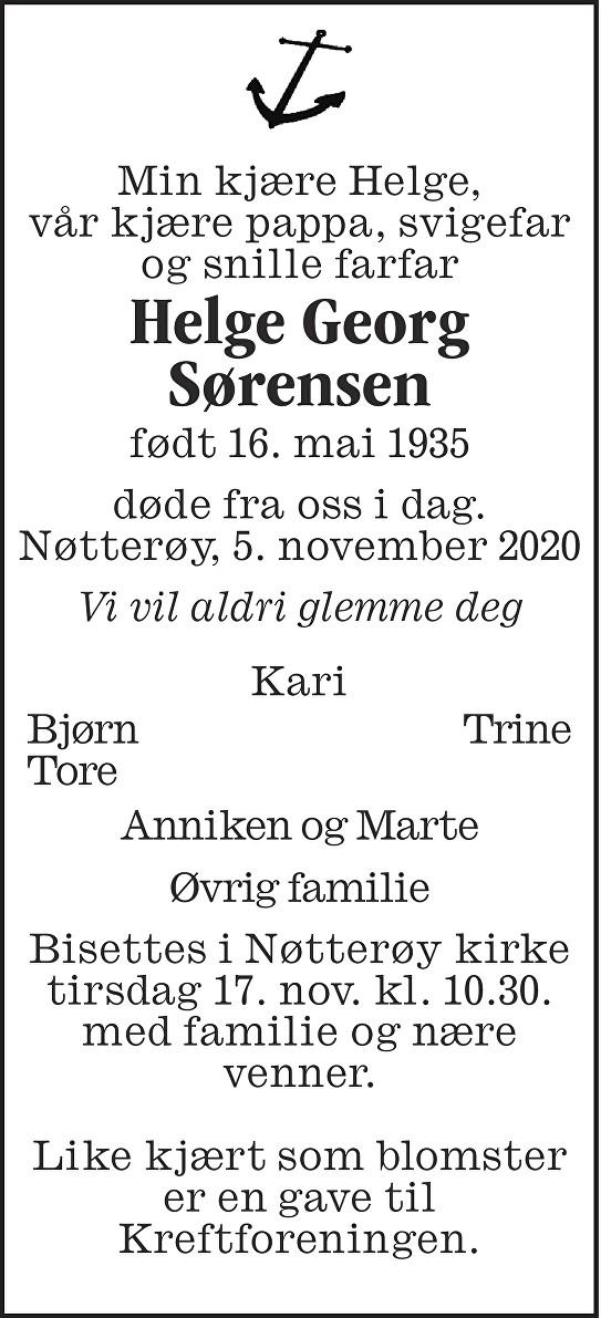 Helge Georg Sørensen Dødsannonse