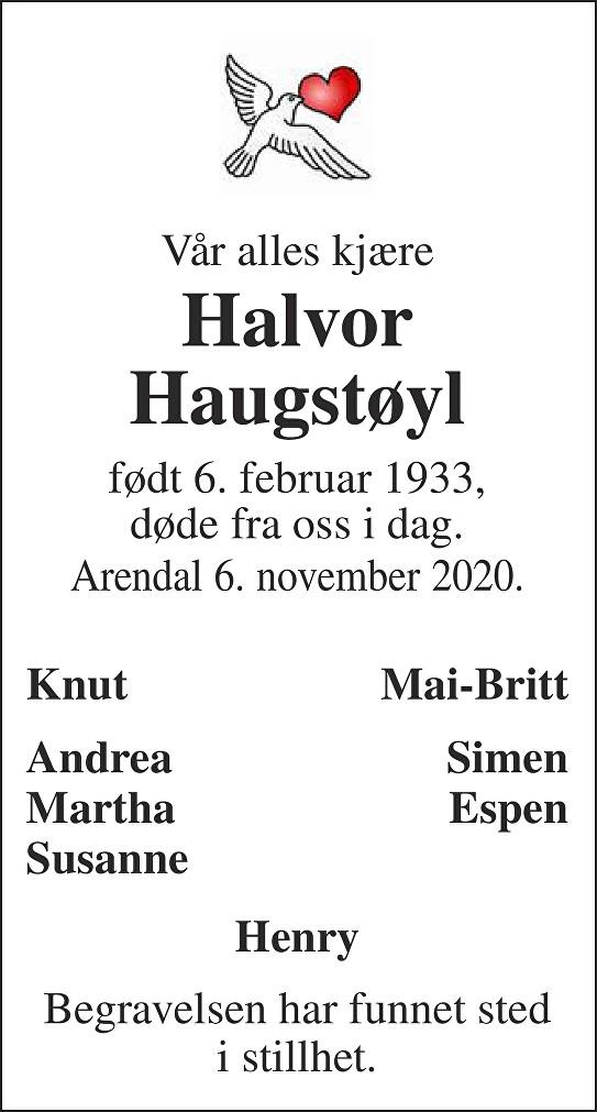 Halvor  Haugstøyl Dødsannonse