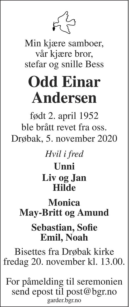 Odd Einar Andersen Dødsannonse