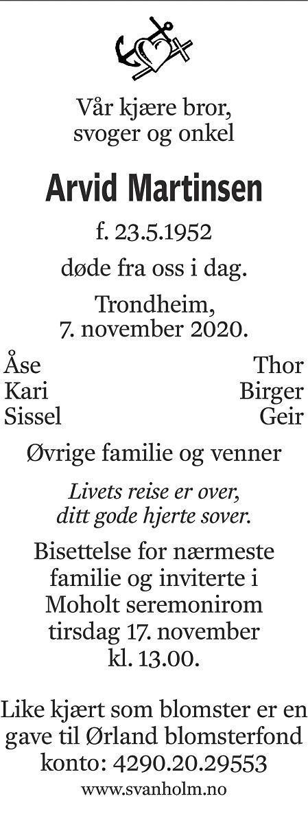 Arvid Martinsen Dødsannonse