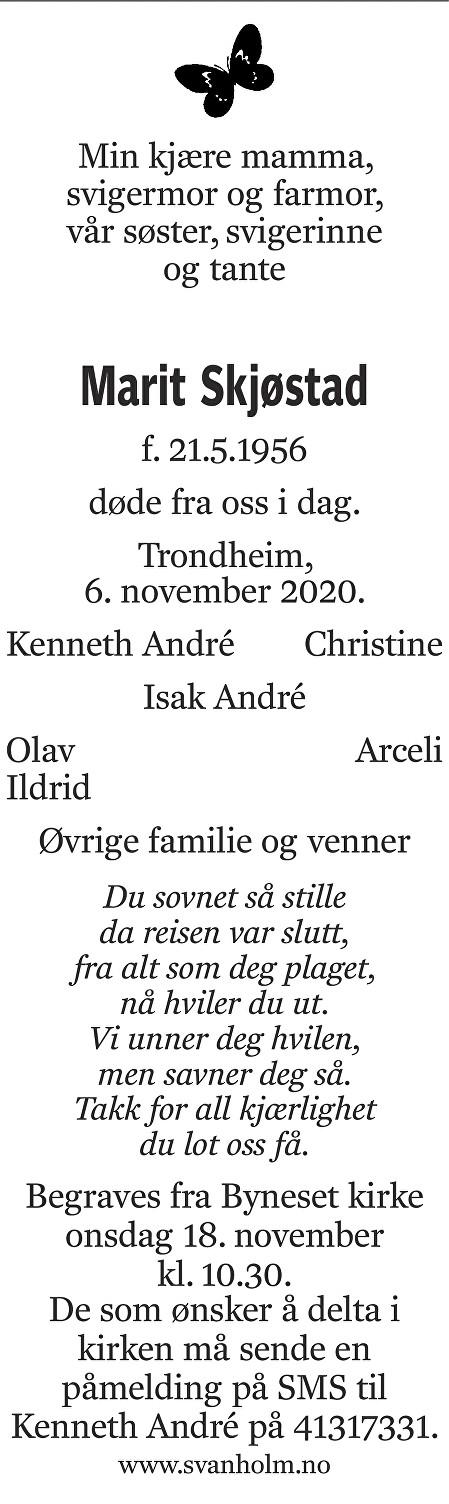 Marit Skjøstad Dødsannonse