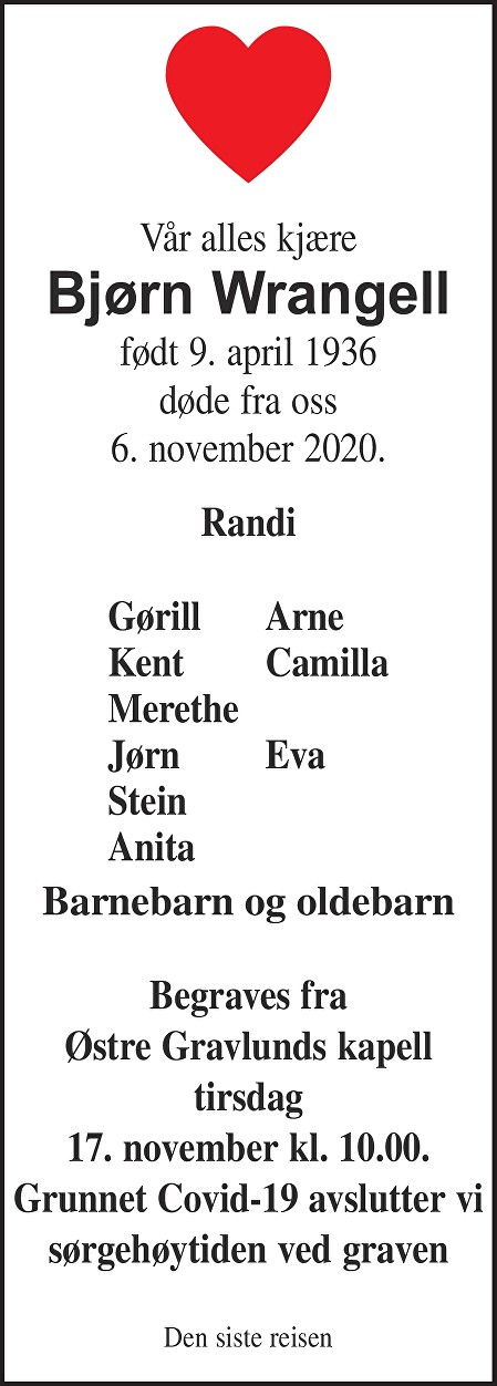 Bjørn Wrangell Dødsannonse
