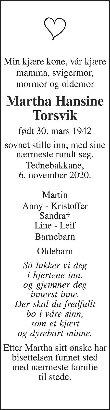 Martha Hansine Torsvik Dødsannonse