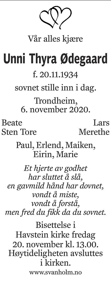 Unni Thyra Ødegaard Dødsannonse