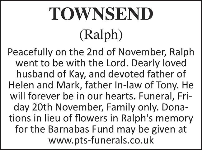 Ralph Townsend Death notice