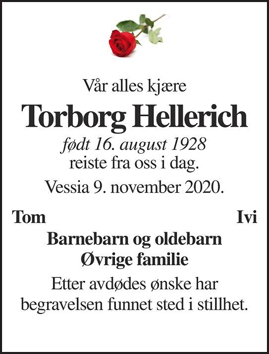 Torborg Hellerich Dødsannonse