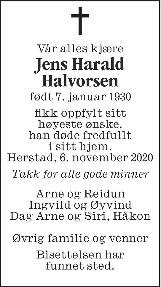 Jens Harald Halvorsen Dødsannonse