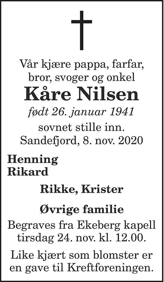 Kåre Nilsen Dødsannonse