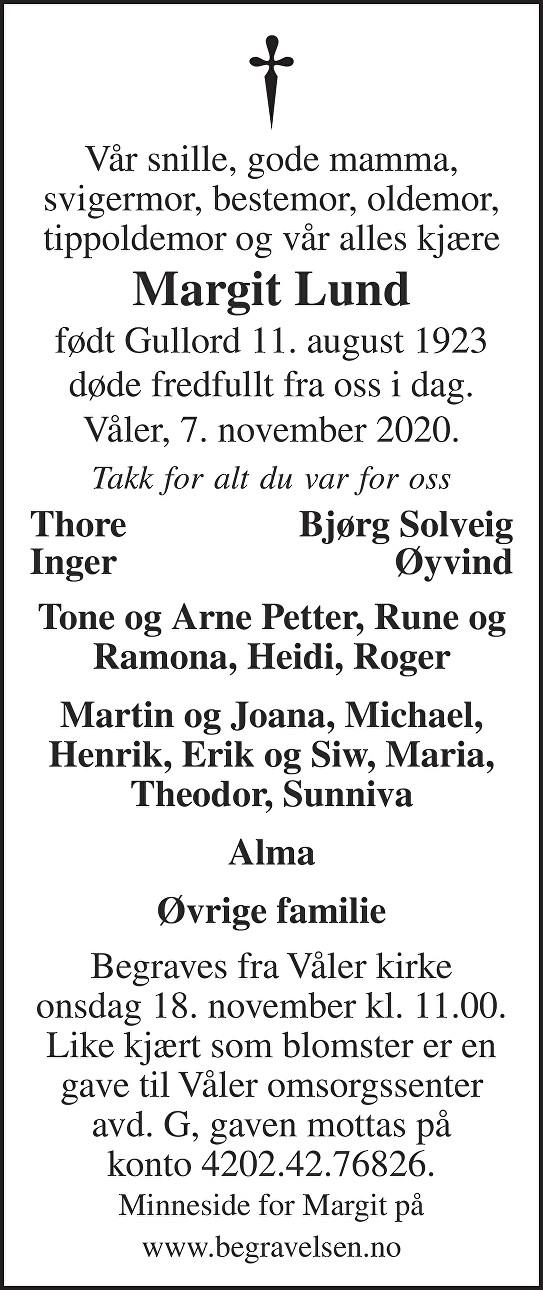 Margit Lund Dødsannonse