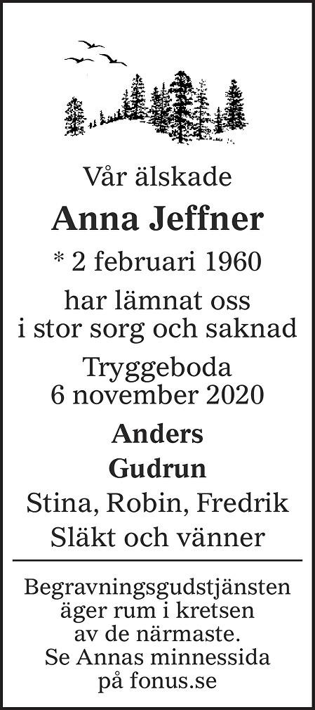 Anna Jeffner Death notice