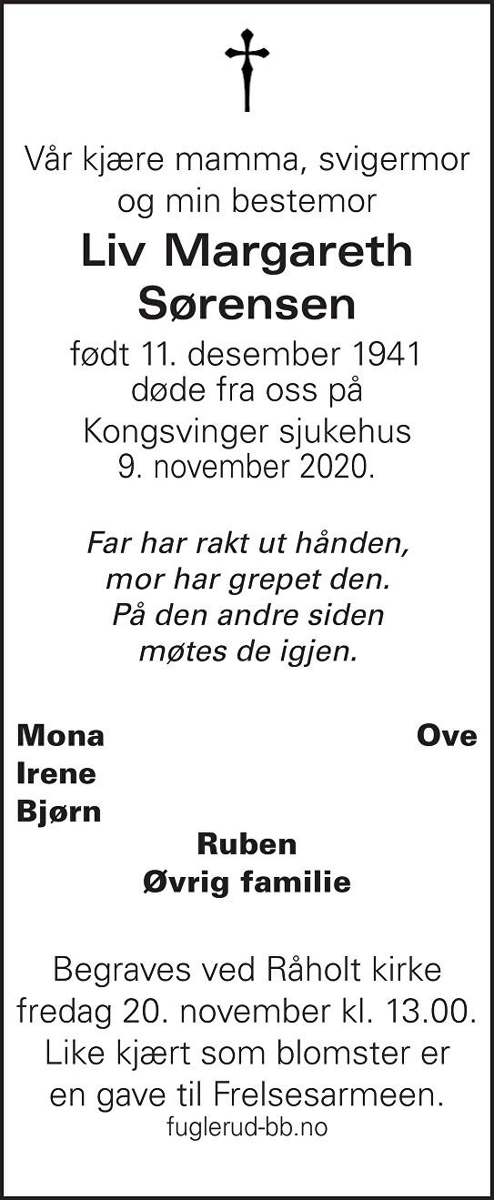 Liv Margareth Sørensen Dødsannonse