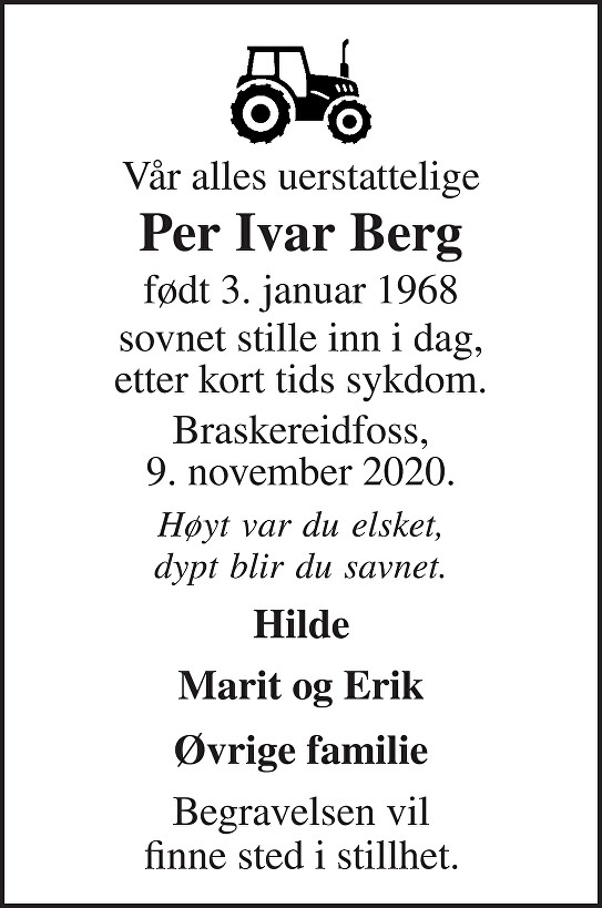 Per Ivar Berg Dødsannonse