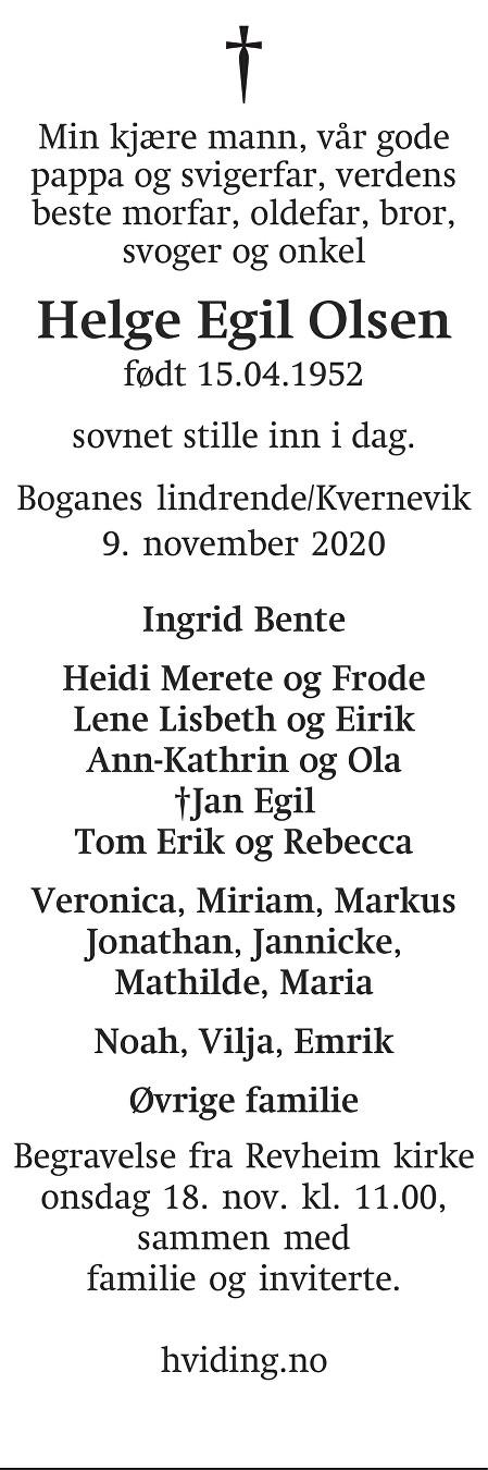 Helge Egil Olsen Dødsannonse