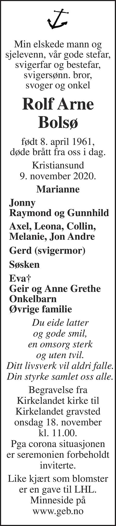 Rolf Arne Bolsø Dødsannonse