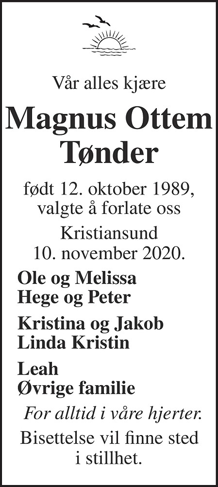 Magnus Ottem Tønder Dødsannonse