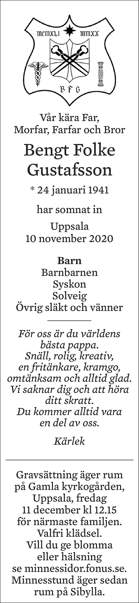 Bengt Gustafsson Death notice