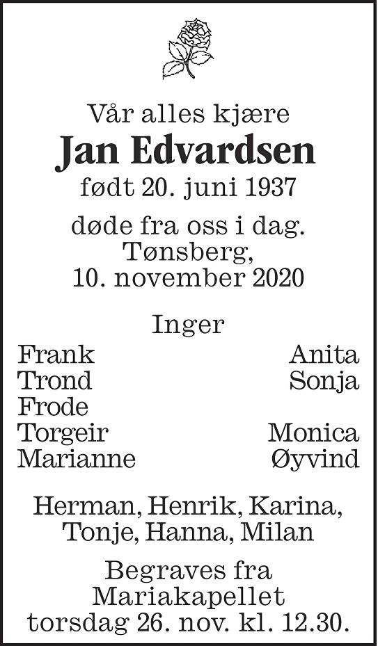 Jan Fredrik Edvardsen Dødsannonse
