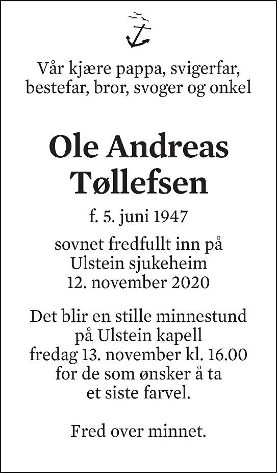 Ole Andreas Tøllefsen Dødsannonse
