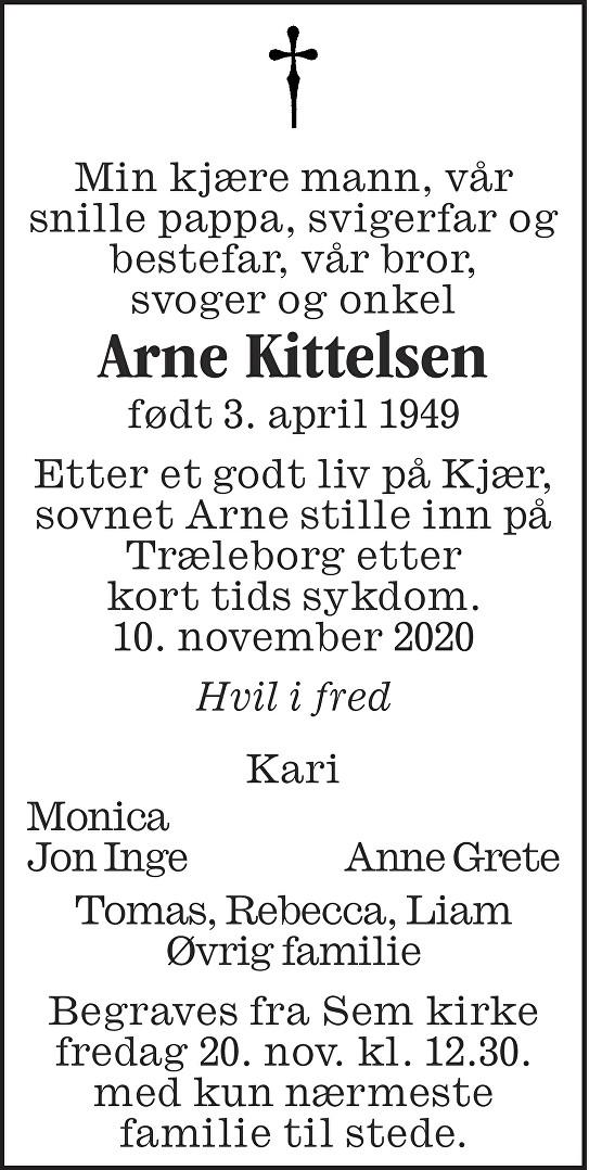 Arne Kittelsen Dødsannonse