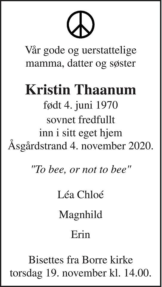 Kristin Thaanum Dødsannonse