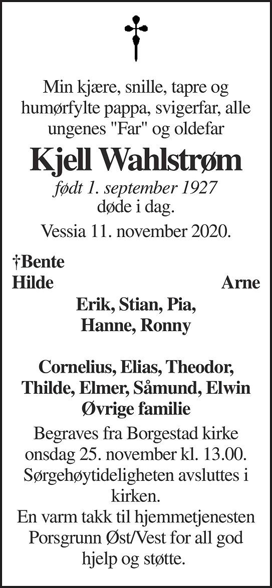 Kjell Wahlstrøm Dødsannonse