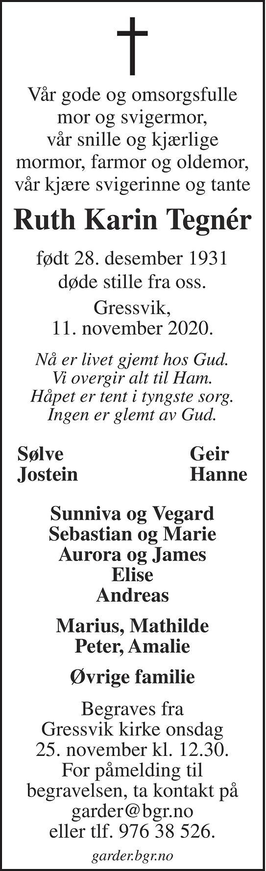 Ruth Karin Tegnér Dødsannonse