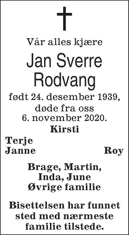 Jan Sverre Rodvang Dødsannonse