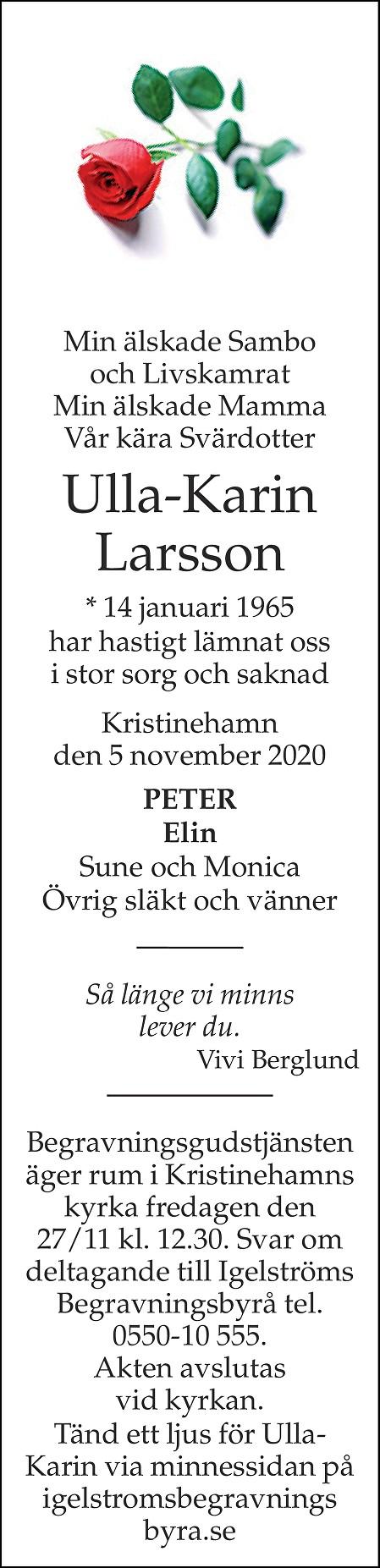 Ulla-Karin Larsson Death notice