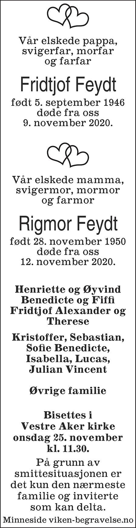 Rigmor og Fridtjof Feydt Dødsannonse