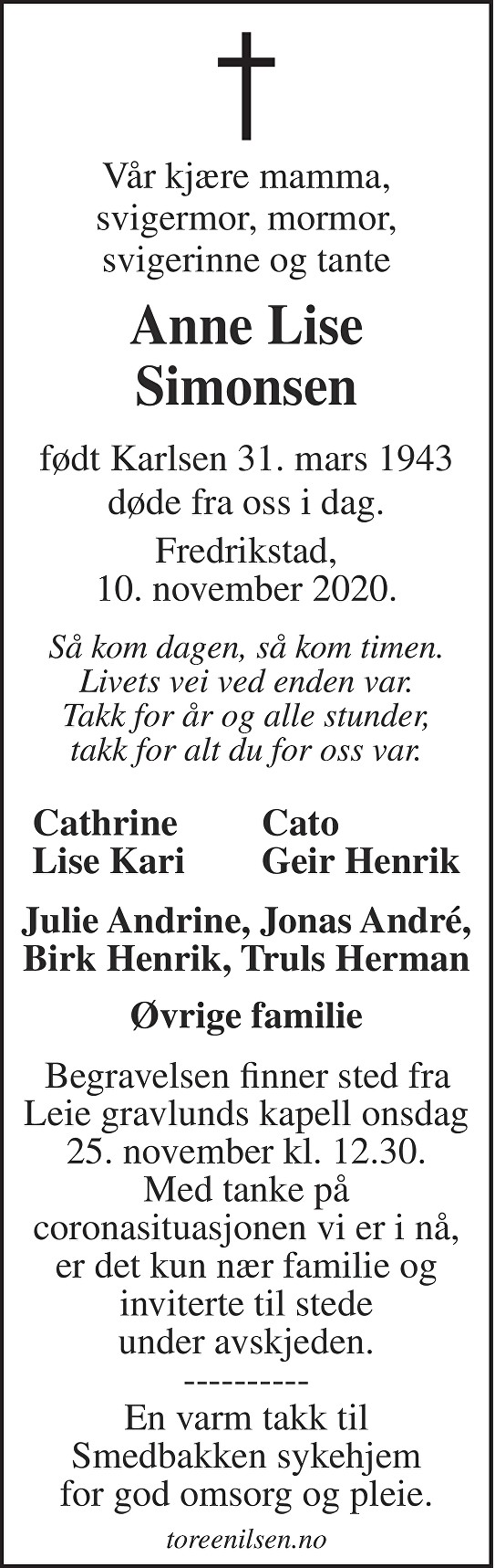 Anne Lise Simonsen Dødsannonse