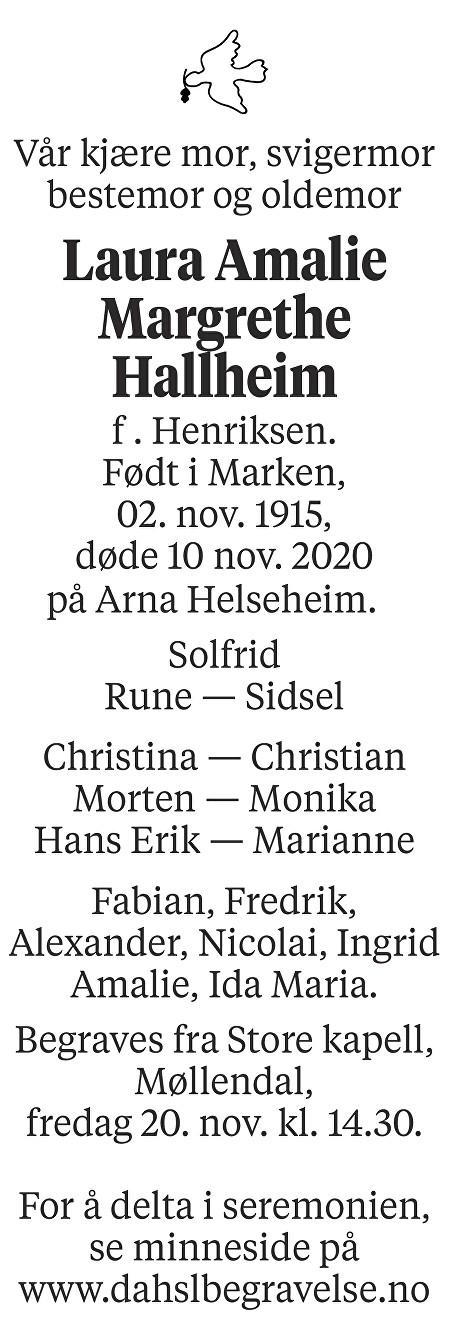 Laura Amalie Margrethe Hallheim Dødsannonse