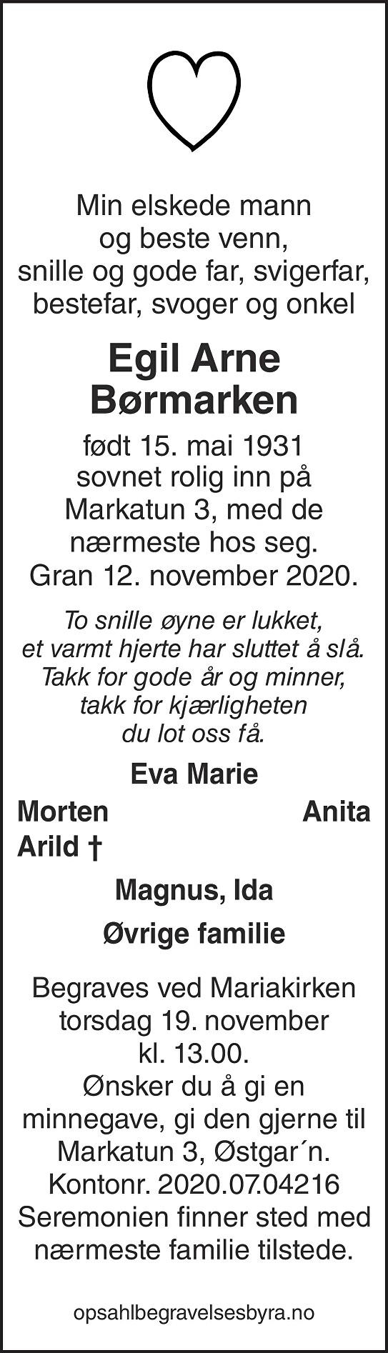 Egil Arne Børmarken Dødsannonse