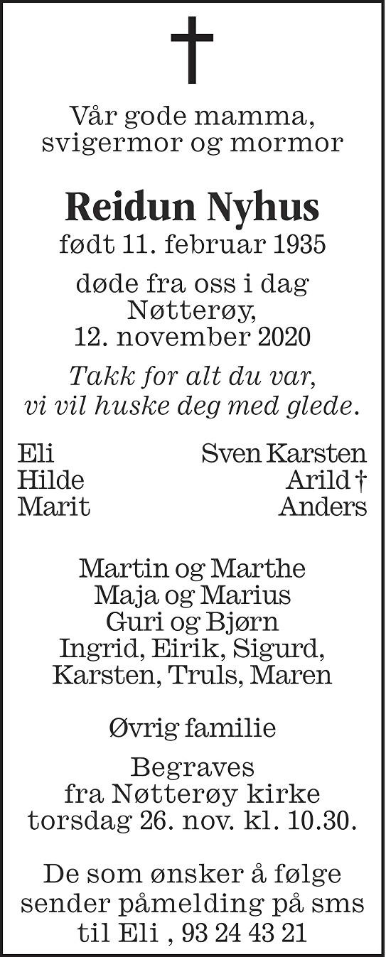 Reidun Nyhus Dødsannonse