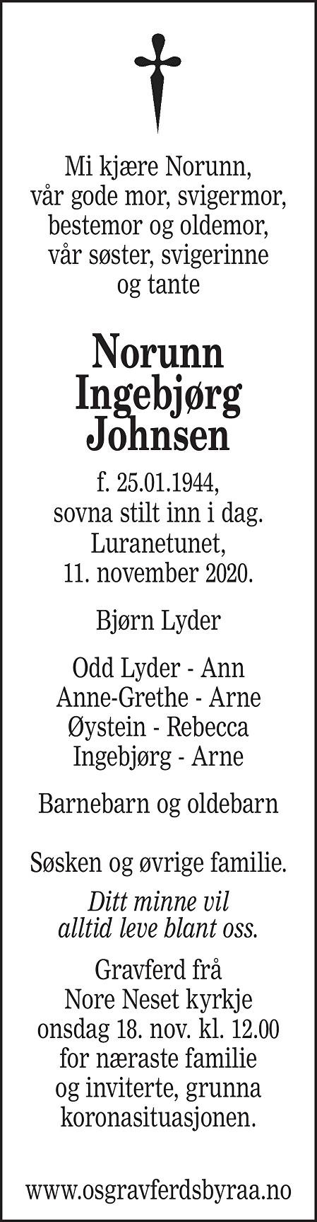 Norunn Ingebjørg Johnsen Dødsannonse