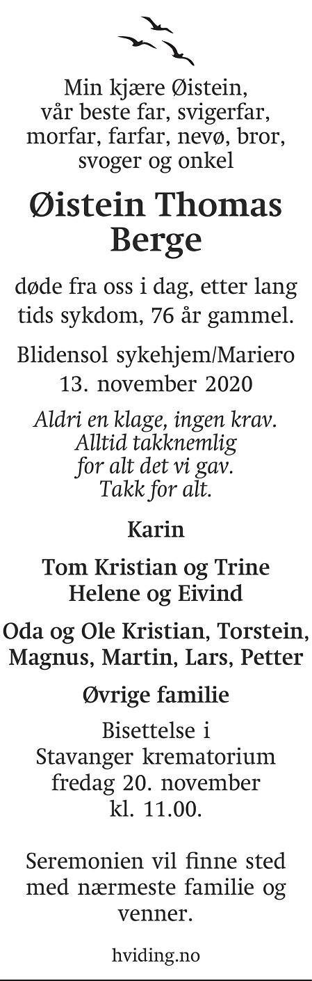 Øistein Thomas Berge Dødsannonse