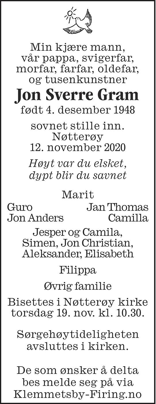 Jon Sverre Gram Dødsannonse
