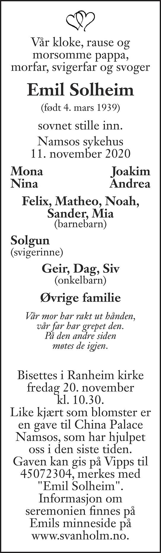 Emil Solheim Dødsannonse