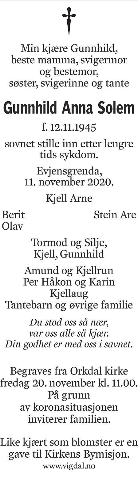 Gunhild Anna Solem Dødsannonse