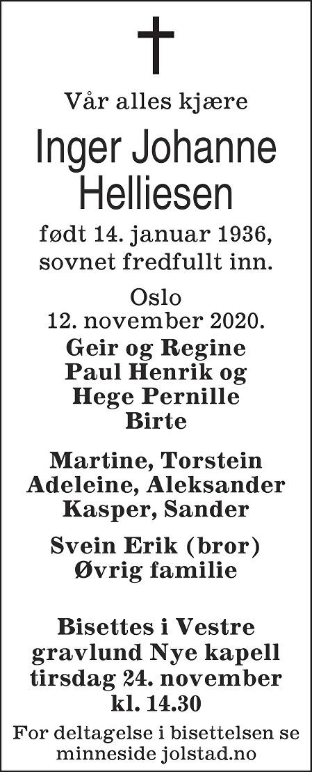 Inger Johanne Helliesen Dødsannonse
