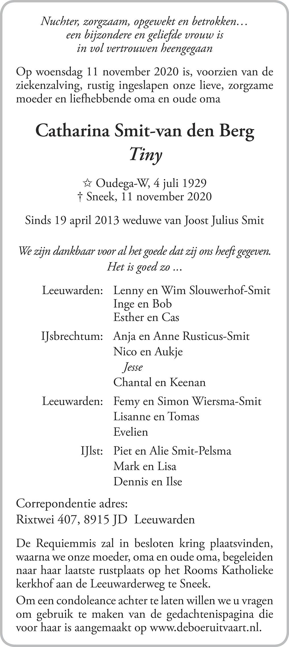 Catharina Smit-van den Berg Death notice