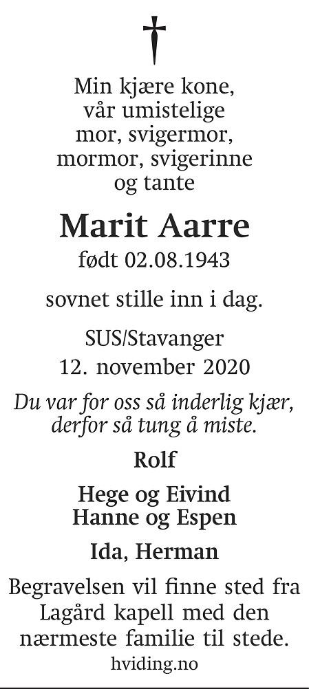 Marit Aarre Dødsannonse