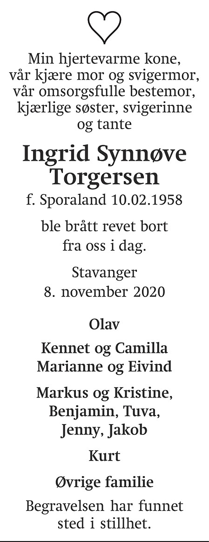Ingrid Synnøve Torgersen Dødsannonse