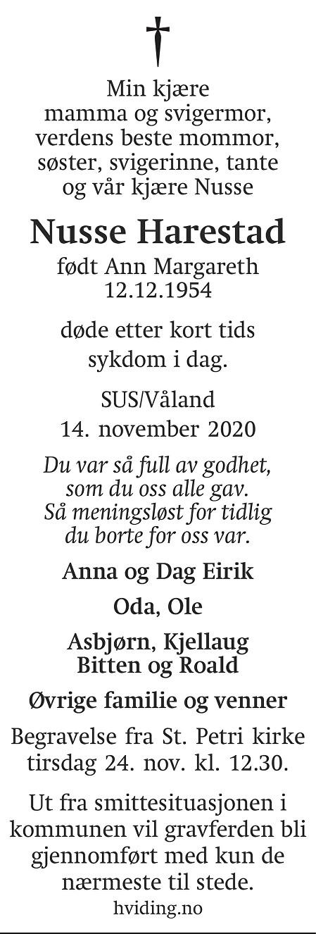 Ann Margareth Harestad Dødsannonse